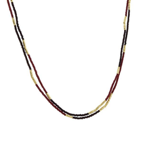 Debbie Fisher - Red Glass Seed Bead Double Strand Necklace