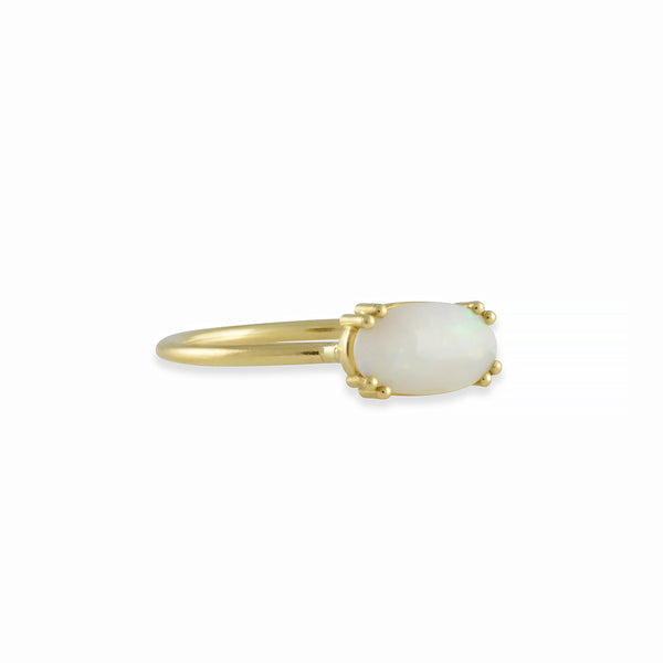 Tura Sugden - Eight Prong Set Oval Opal Ring in 18K Gold