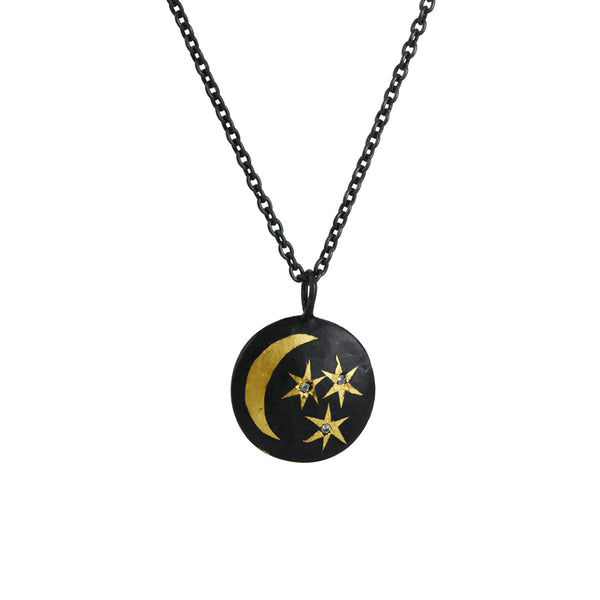 Acanthus - Reversible Coin Necklace With Moon and Stars