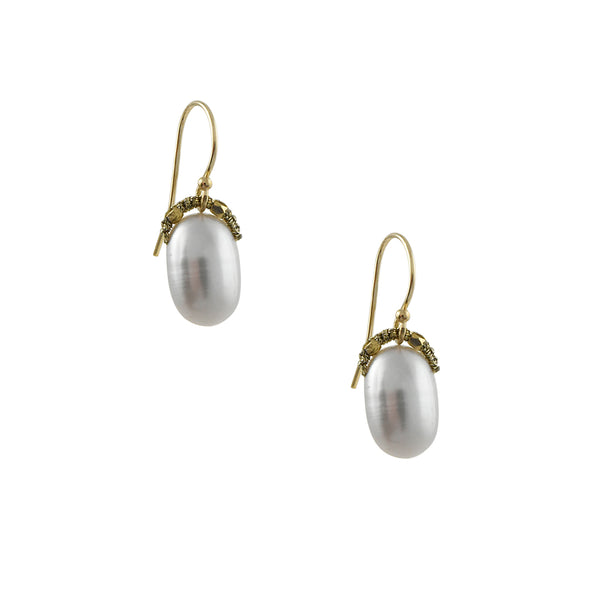 Danielle Welmond - Silver Pearl Drop Earrings With Woven Beaded Bales