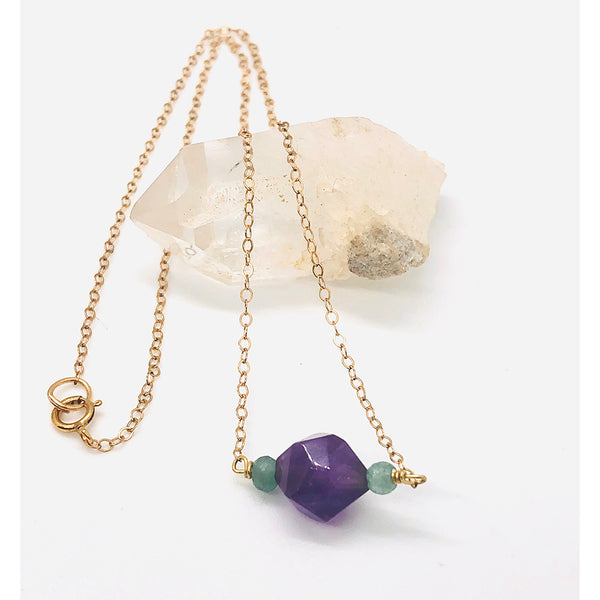 Danielle Mayes - Amethyst and Emerald Necklace With Gold Fill Chain