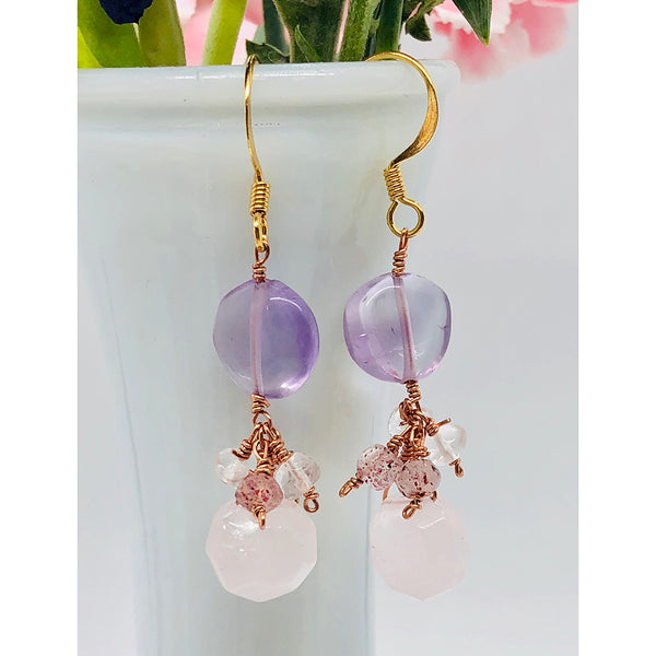 Danielle Mayes - Amethyst and Rose quartz Drop Earrings