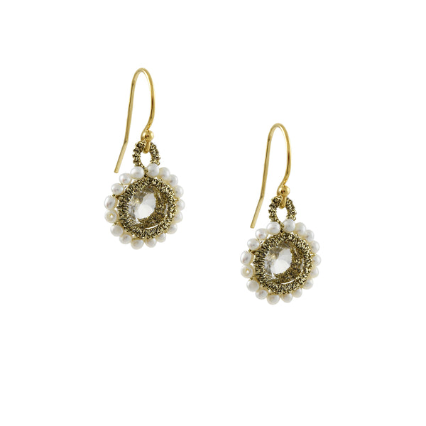 Danielle Welmond - Caged White Topaz Drop Earrings With Pearl Halos