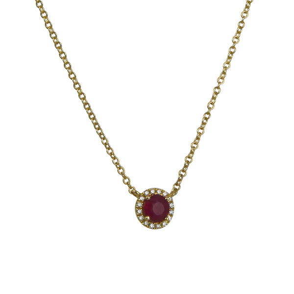 Cp Collection - Ruby with Halo Necklace in 14k yellow gold
