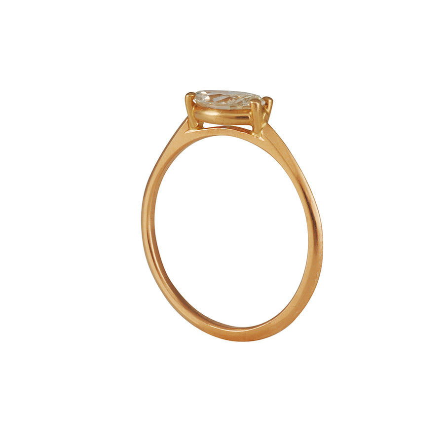 Tura Sugden - Horizontal Marquise-Cut Diamond Solitaire in 18K Rose Gold
