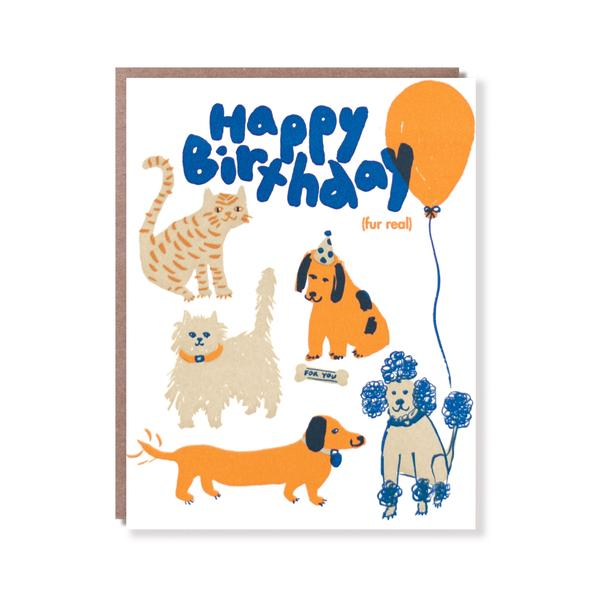 Egg Press - Happy Birthday (Fur Real) Card
