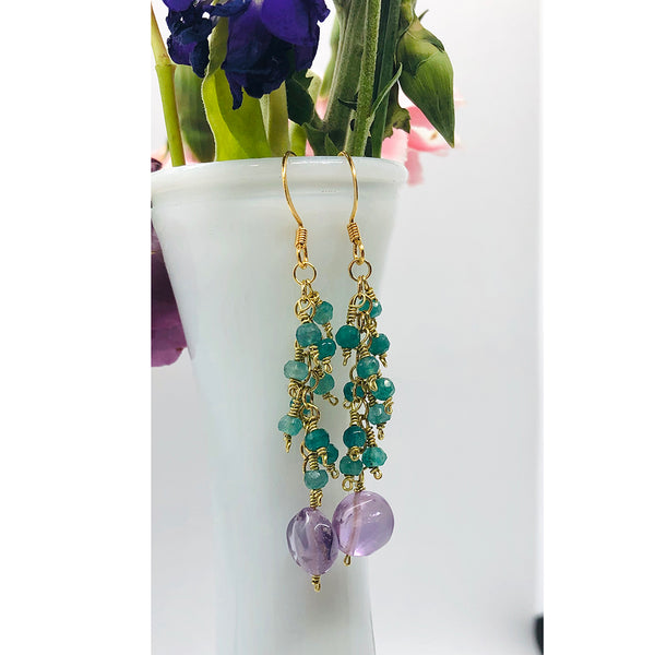 Danielle Mayes - Emerald Cluster Dangle Earrings