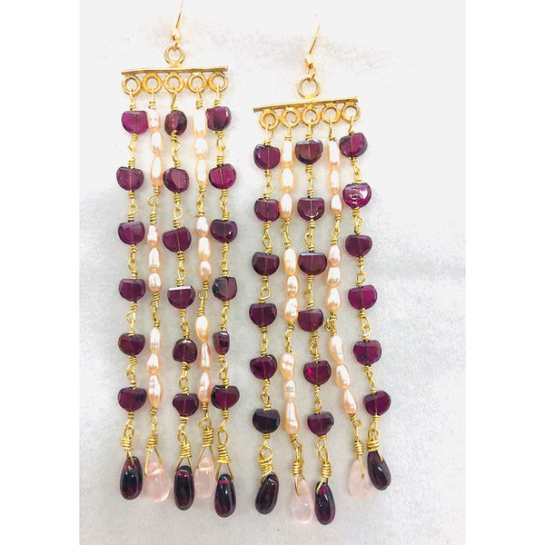 Danielle Mayes - Handmade Garnet and Pearl Chandelier Earrings