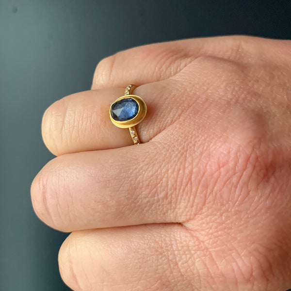 Ananda Khalsa - Rose Cut Sapphire with Diamond Ring