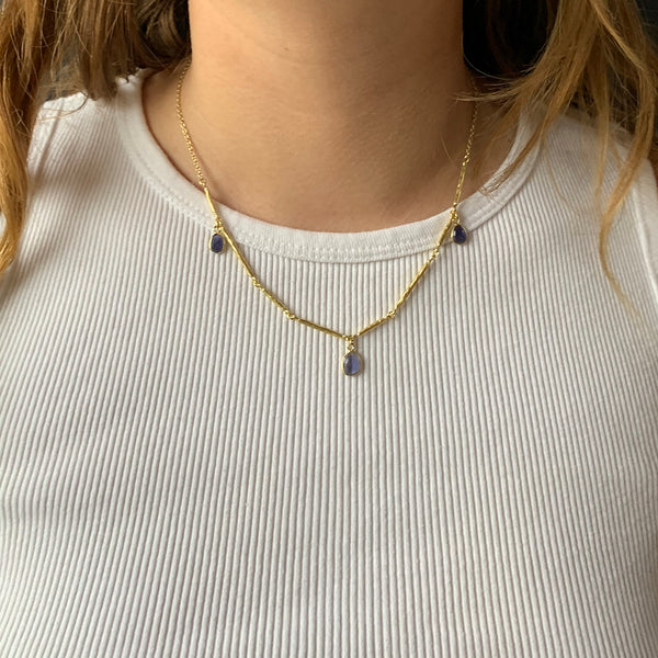 Sarah Richardson - Branch Pendant Necklace With Iolite in Gold Vermeil