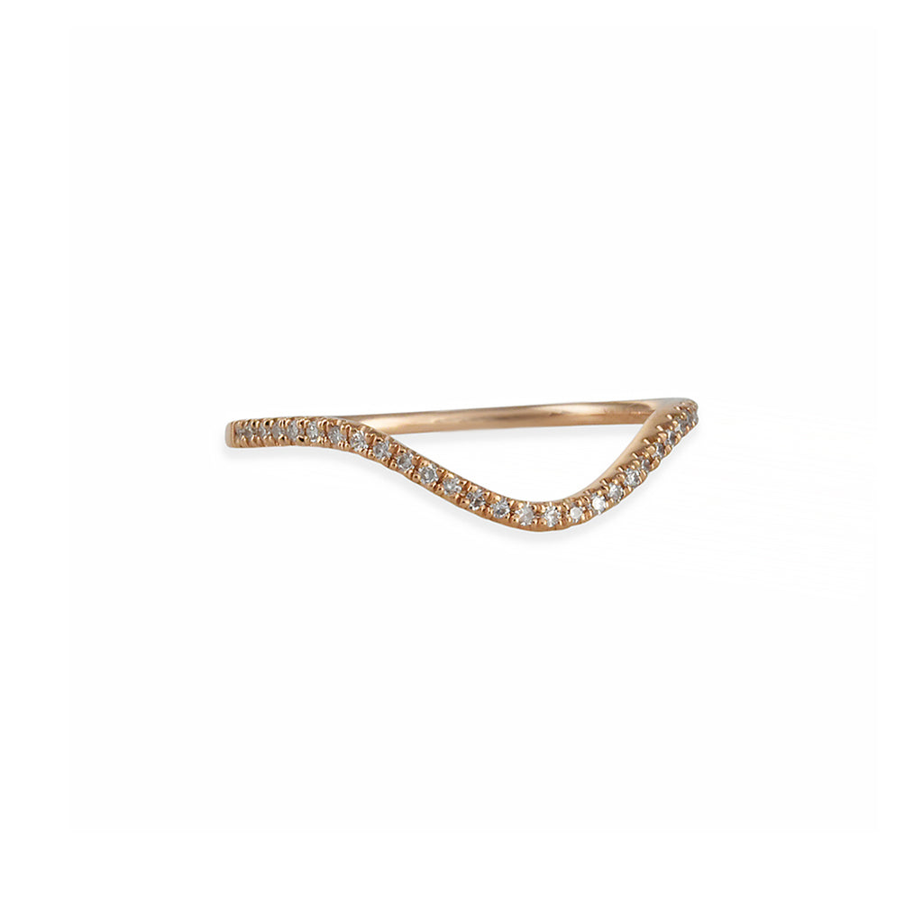 Liven - Half Circle Pave Diamond Band in 14K Rose Gold