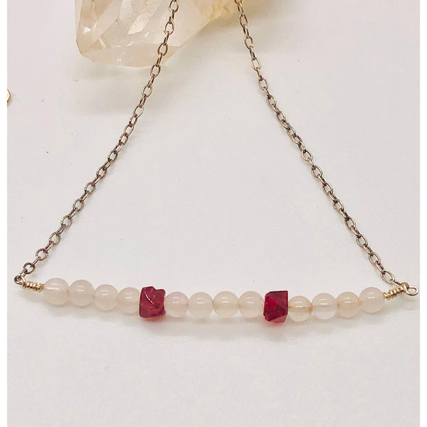 Danielle Mayes - Rose Quartz and Bixbite Bar Necklace