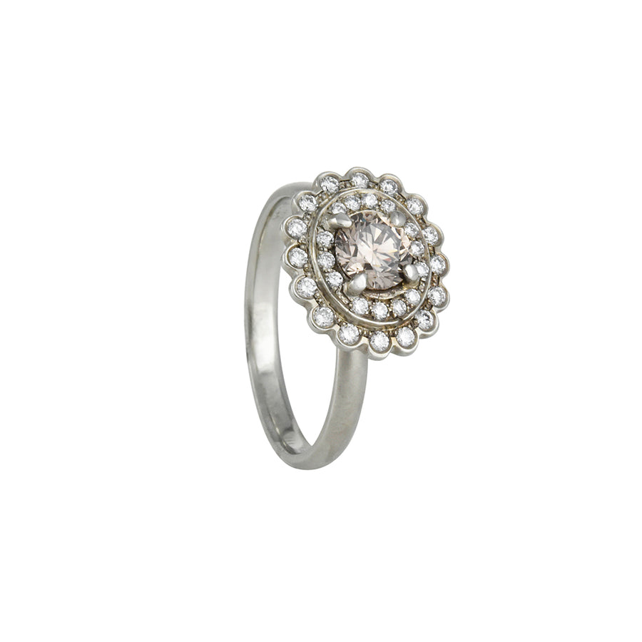 SALE  - Floral Halo Champagne Diamond Ring