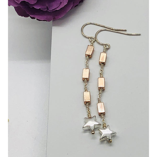 Danielle Mayes - Star Hematite Dangle Earrings