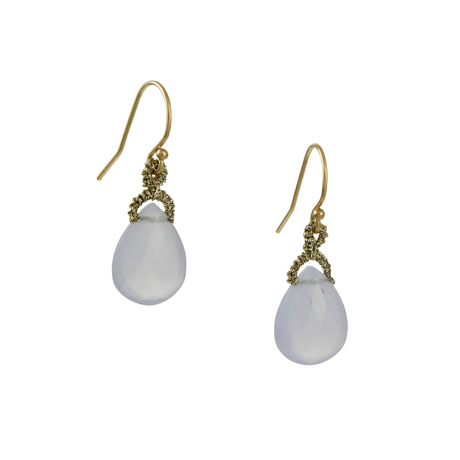 Danielle Welmond - Blue Chalcedony Almond Drop Earrings