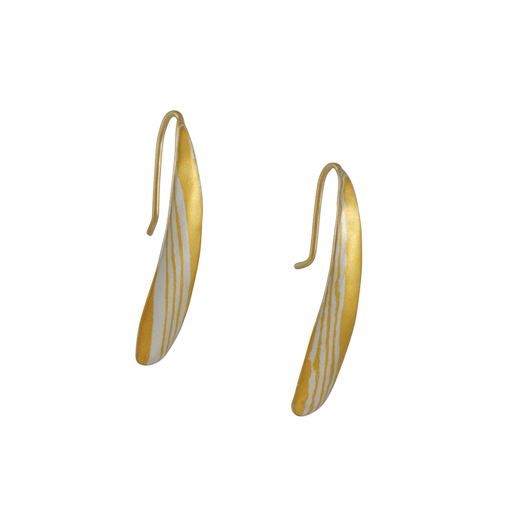 Black Barc - Mokume Gane Kiku Moku Earrings