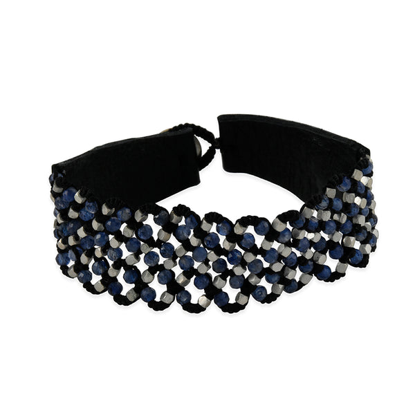 Danielle Welmond - Woven Bracelet With Kyanite and Faceted Sterling Silver Beading