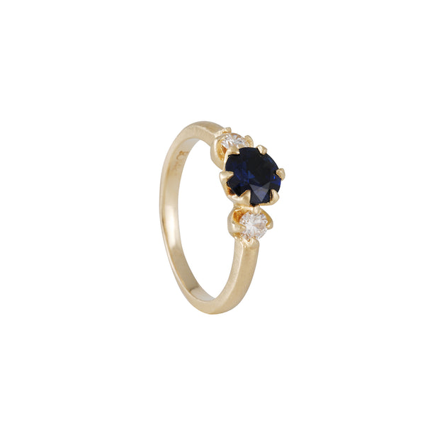 Rebecca Overmann - Three Stone Ring with Sapphire and Diamonds