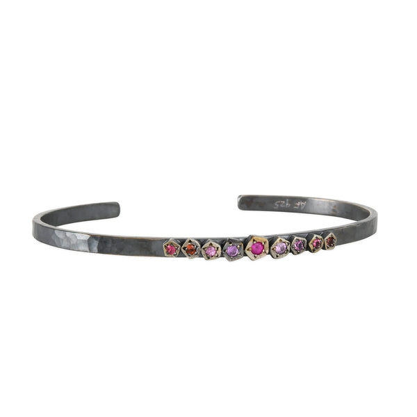 Annie Fensterstock - Thin Rock Cuff With Pink Sapphires