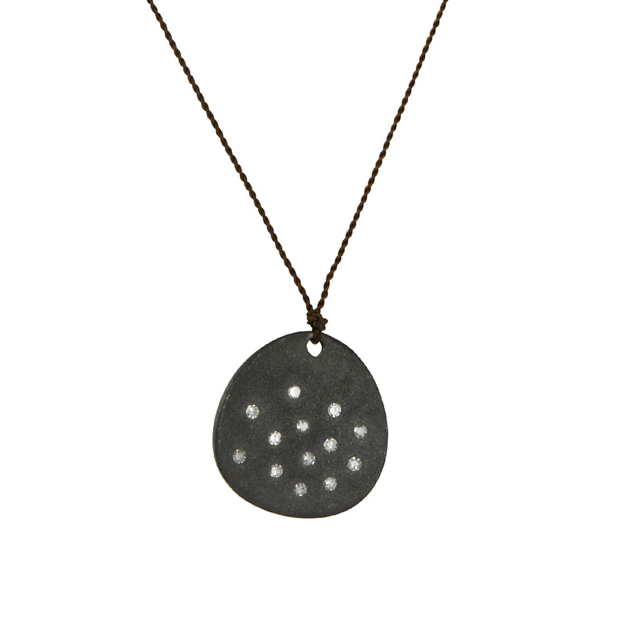 Margaret Solow - Disc With Eleven Diamonds Pendant Necklace