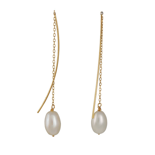 Shaesby - Pearl Thread Thru Earrings