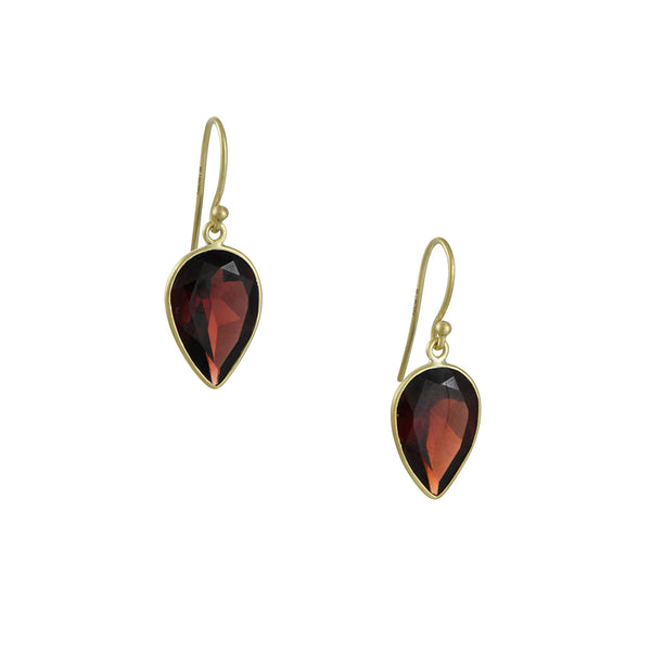 Kothari - Inverted Wide Garnet Drop Earrings