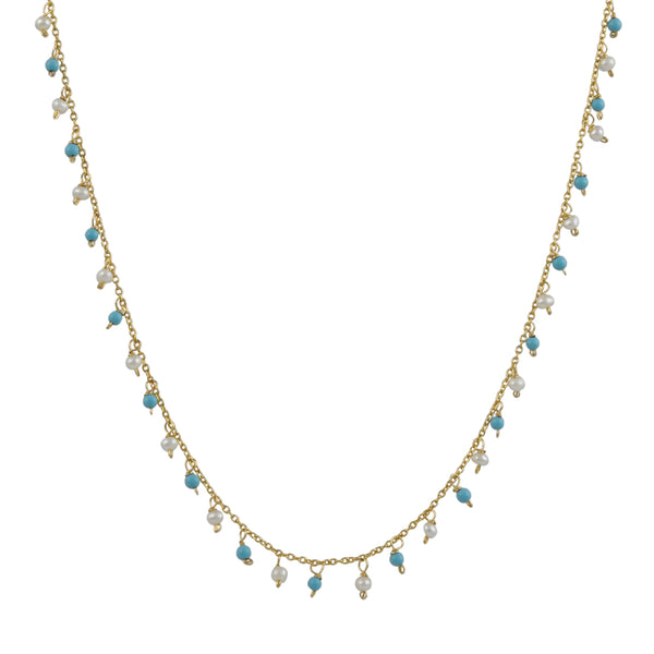 Christina Stankard - Fringe Pearl & Turquoise Necklace