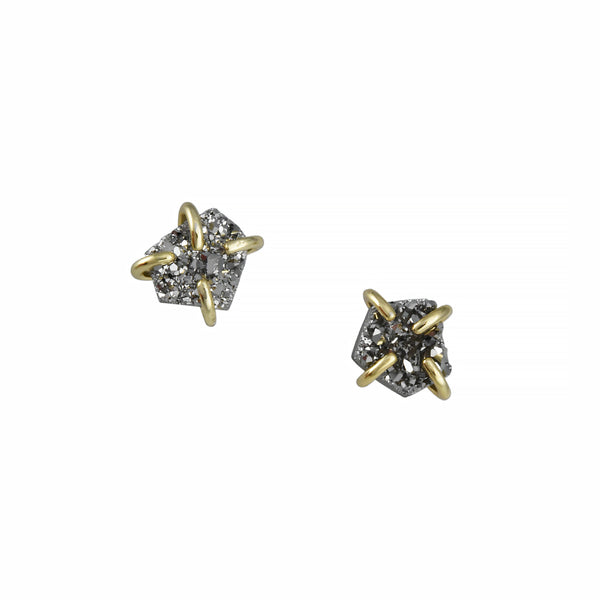 JaxKelly - Prong-Set Silver Druzy Studs