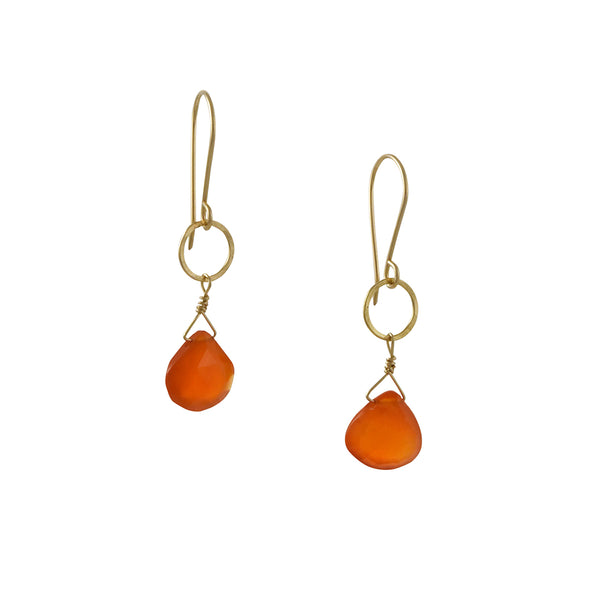 Debbie Fisher - Carnelian Briolette Drop Earrings With Hammered Circles