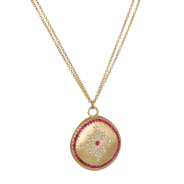 ADEL CHEFRIDI - Nostalgia Necklace with Ruby and Diamonds