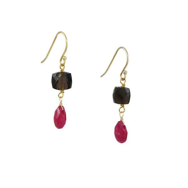 A. V. Max - Ruby and Smoky Quartz Double Drop Earrings