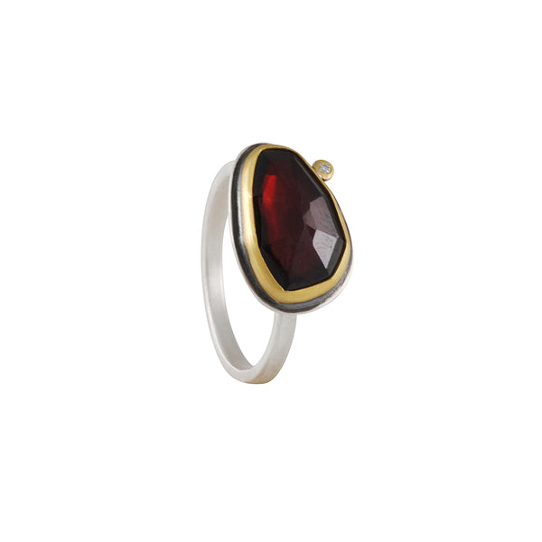 SALE - Garnet and Diamond Ring