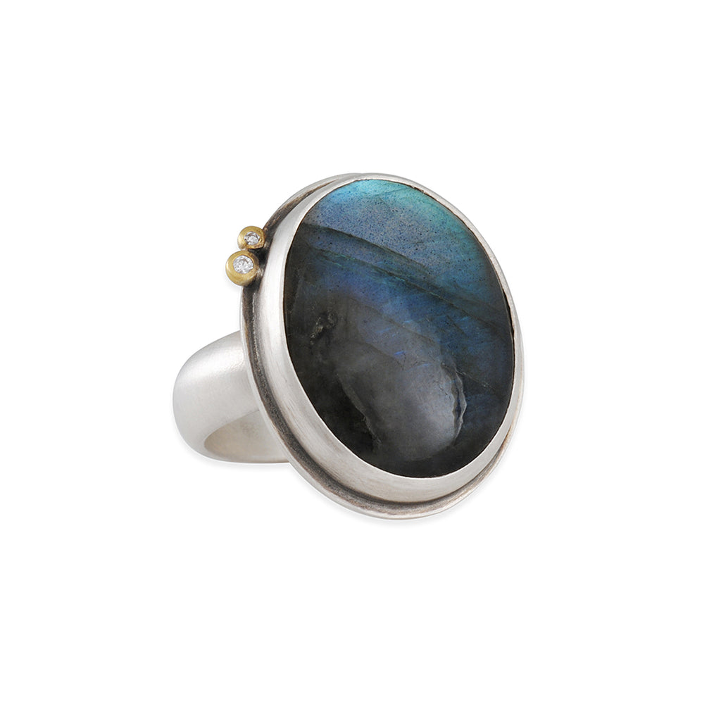 Ananda Khalsa - Labradorite and Diamond Ring