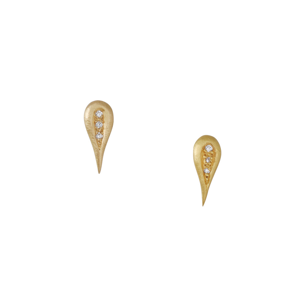 Annie Fensterstock - Carved Teardrop Studs