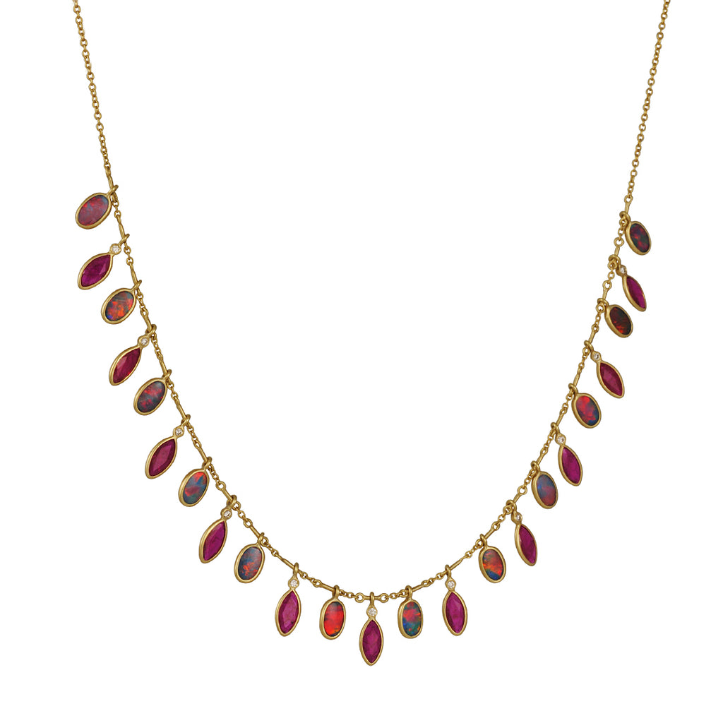 Kothari - Opal, Ruby and Diamond Fringe Necklace