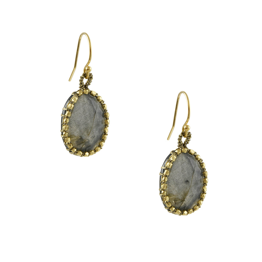 Danielle Welmond - Labradorite Drop Earring With Beaded Woven Bale
