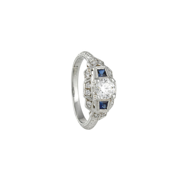 SALE - Vintage Style Geometric Ring with Sapphire and Diamond