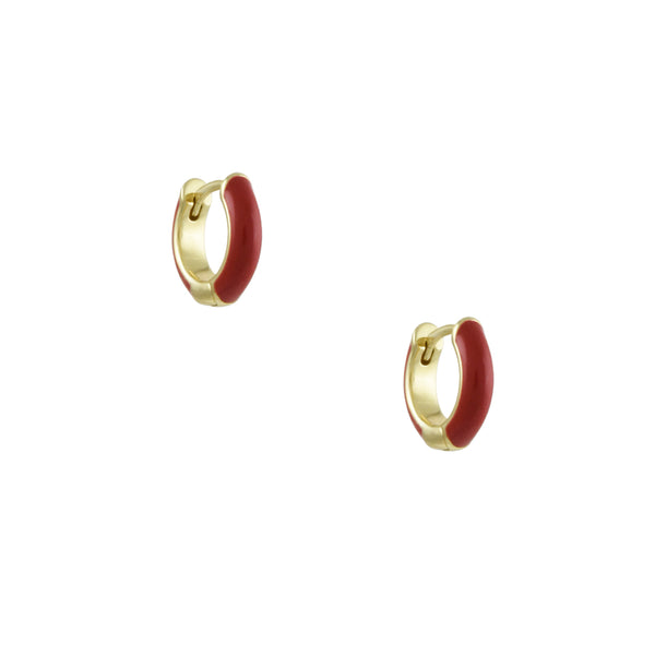 Kris Nations - Red Enameled Huggie Hoop Earrings