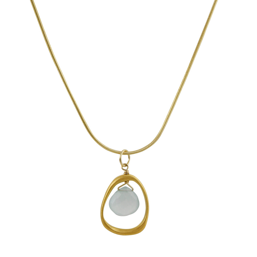 Phillippa Roberts - Open Circle Pendant with Chalcedony