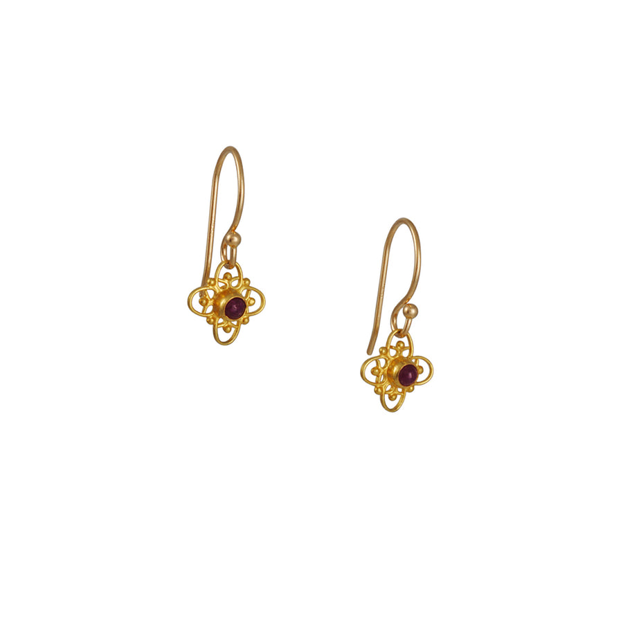 Margaret Solow - Filigree Earrings with Rubies