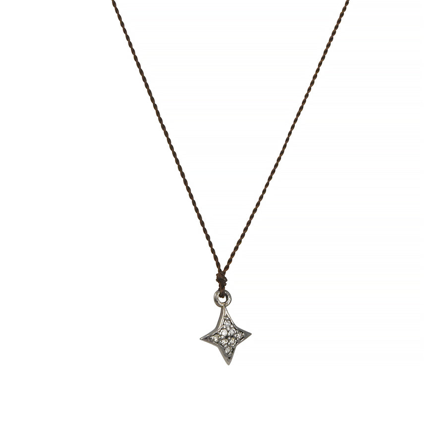 Margaret Solow - Tiny Pave Diamond Star Pendant Necklace