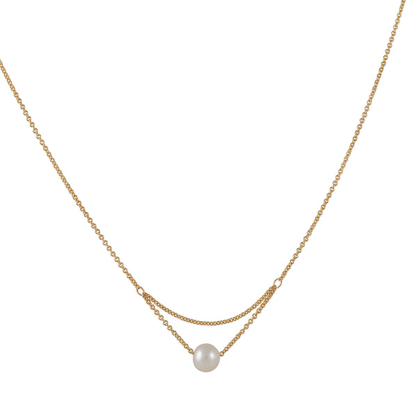 Carla Caruso - Sweeping Pearl Charm Necklace