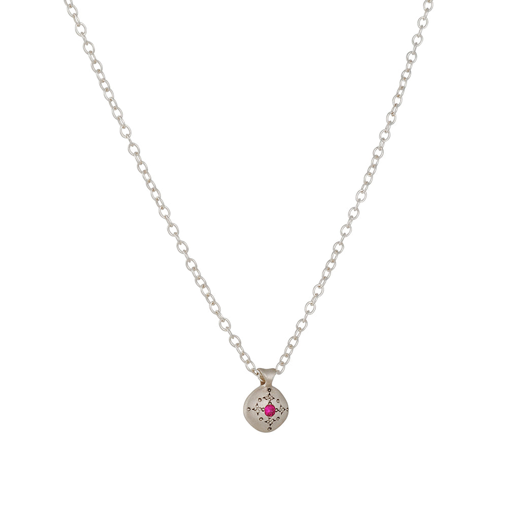 Adel Chefridi - Silver Lights Necklace with Ruby