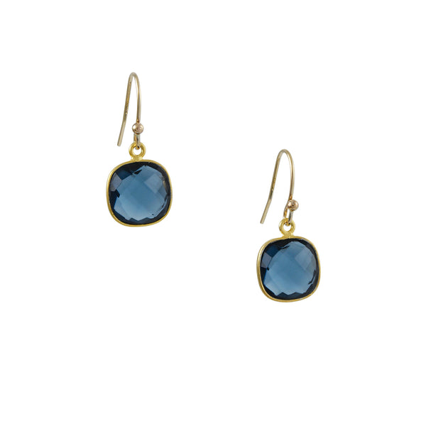 Philippa Roberts - Cushion Cut Blue Hydro Quartz Earrings