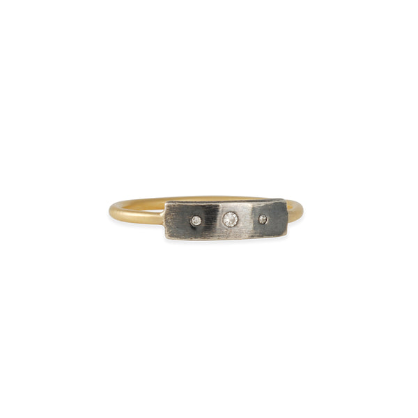 Sarah McGuire - Skinny Baguette Ring with Diamonds