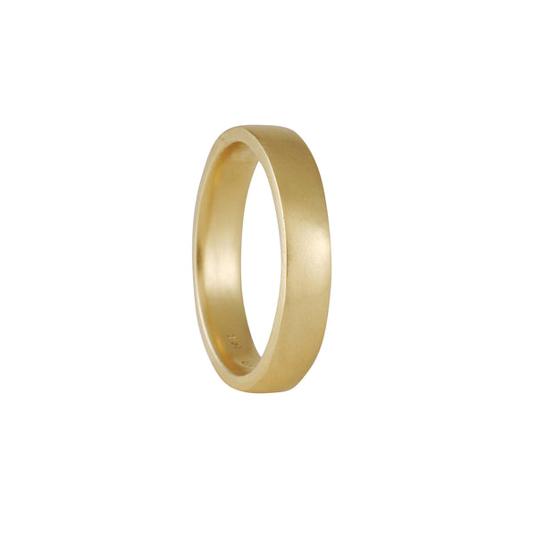 Black Barc - 4mm Squared Wedding Band in 14K Yellow Gold