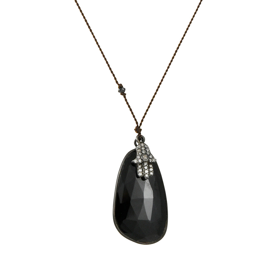 Margaret Solow - Faceted Obsidian Pendant Necklace With Diamond Pave Hamsa