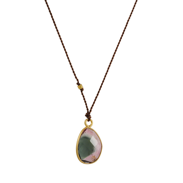 Margaret Solow - Oval Watermelon Tourmaline Drop Necklace