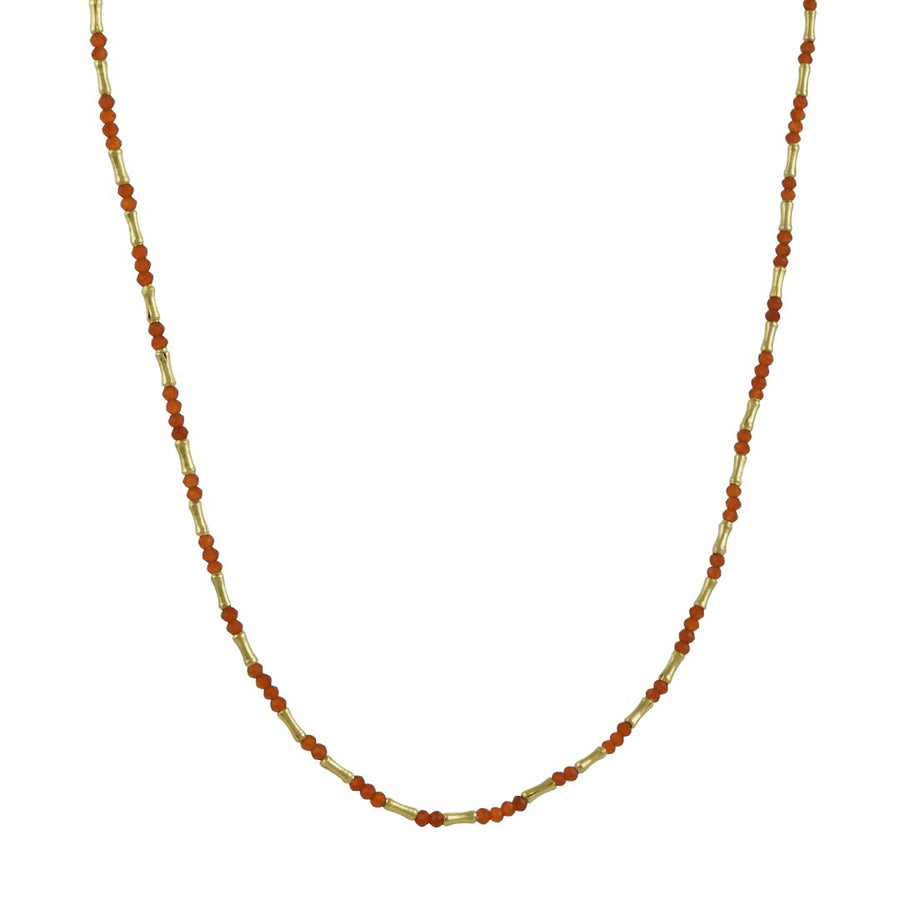 Debbie Fisher - Faceted Carnelian and Bamboo-Style Gold Vermeil Beaded Necklace, 15.5