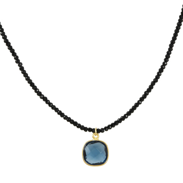 Philippa Roberts - Cushion Cut Blue Hydro Quartz Necklace on Spinel